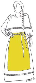 Decription on making a Finnish iron age dress (in Finnish but with drawings) Viking Garb, Viking Clothing, Medieval Fashion, Iron Age, Anglo Saxon, Folk Costume, International Fashion, Nostalgia, How To Wear