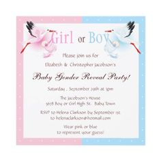 Cute baby gender reveal party invites with blue and pink stork carrying babies. Printed on both sides. Easy to customize. $1.90. Good volume discounts. #genderreveal #babygenderreveal #genderrevealinvites #invitations
