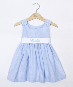 Another great find on #zulily! Blue Gingham Personalized Sash Jumper - Infant, Toddler & Girls #zulilyfinds