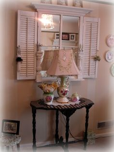 Vintage Window Mirror with Molding and Shutters Added