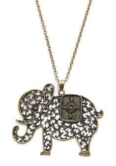 The Elephant's Elegance Necklace - Gold, Chain, Cutout, Party, Casual, Safari, Top Rated