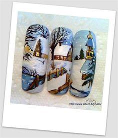 Winter time nail art. Log cabin/snowy scene/outside/tree's/bridge/frozen lake.