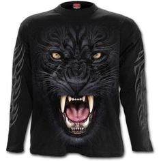 Tribal Panther Long Sleeve Tee https://www.highvoltageclothing.com  #musthave #clothing #biker #loveit