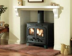 Ideas for wood burning stove fireplace fire surround mantels Wood Burner Fireplace, Inglenook Fireplace, Fireplace Hearth, Fireplace Ideas, Fireplace Kitchen, Best Wood Burning Stove, Fresh Living Room, Fire Surround, Into The Woods