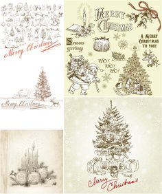 Awesome Hand Drawn Vintage Christmas Greeting Cards Vector