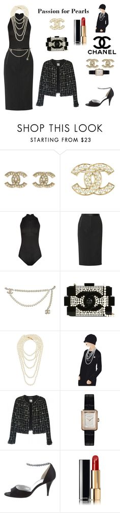 """""""Passion for Pearls (contest)"""" by scolab ❤ liked on Polyvore featuring Chanel, La Perla and ADAM"""