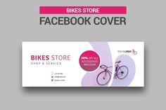 Bicycle Sales Facebook Cover by UNIK Agency on @creativemarket Facebook Marketing Strategy, Social Media Marketing, Social Media Template, Social Media Design, Business Brochure, Business Card Logo, Bicycles For Sale, Facebook Cover Template, Bike Store
