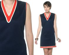 70s Mini Dress Navy Mod Striped Retro 60s Shift Red by oldage, $47.00