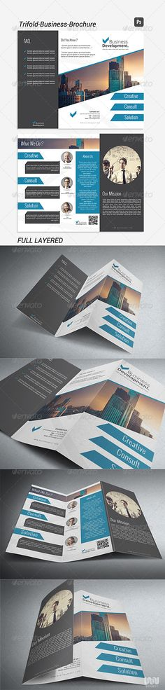 Tri-fold Business Brochure Template  #GraphicRiver        Tri-fold Business Brochure Template  Clean and Modern Business Brochure Template, Professional template for Corporate / Business Brochure, Easy to changes photo, ready to use, photoshop cs3 or higher and user guide include. Specifications:  2 PSD File Front and Back  Ready to Print  300 dpi, CMYK Color  11×8.5  Full Layered and Easy to edit Font    Open Sans  PT Sans  Oswald   Created: 30September13