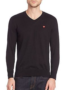 Comme des Garcons Play Play V-Neck Cotton Sweater - Black