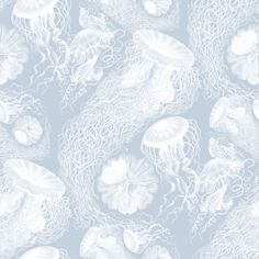 Jellyfish ~ Versailles Fog and White Swarm fabric by peacoquettedesigns on Spoonflower - custom fabric