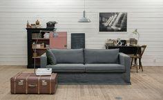 IKEA Karlstad 3 seater sofa in Loose Fit Urban Rosendal Pure Wash Linen Medium Grey. www.bemz.com