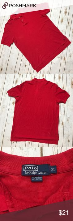 "Polo by Ralph Lauren Men's Polo Red shirt XL No rips or stains. Great condition. Armpit to Armpit 22"" Front Length 30"" Back length 32"" Polo by Ralph Lauren Shirts Polos"