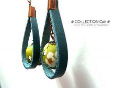 "Boucle d'oreille ""cuir / perle en tissu Liberty"" n°118"