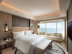 Conrad Manila Hotel, Philippines -Bay View One-Bedroom Suite Hotel Bedroom Design, Design Hotel, Master Bedroom Design, Home Decor Bedroom, Modern Hotel Room, Hotel Motel, Hotel Suites, Hotel Spa, Hotel Interiors