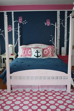 Navy Pink Bedroom Gorg S Choice Replace Owls With Something Under The Sea