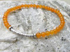 Gemstone Bead  Bracelet  Elastic Stacking Sterling by TANGRA2009, $37.00