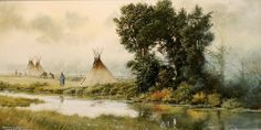 """""""Camped at the Forks"""" by Jeffrey Craven. Watercolor 6"""" x 12"""".  Simply masterful!"""