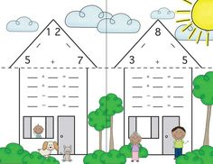 Fact Family Houses - Great for reviewing math facts. I love how this version can be folded on the dotted line to create a flash card / answer key.