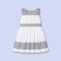 Bow-trimmed striped dress WHITE/BLUE Girl - Boys and girls Clothes - Jacadi Paris