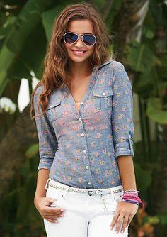 bf9b495a46b dELiAs   Ditsy Floral Chambray Shirt   tops   view all tops