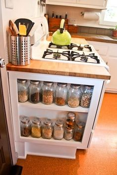 Want to do something like this, but instead of having the stuff stored on the side..have it made into a cabinet where the shelves slide in & out.