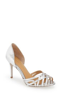 """Badgley Mischka'Muse' d'Orsay Sandal (Women) Item #1053839;  Slender, interwoven straps crisscross at the toe of a delicate d'Orsay sandal presented in shimmering metallic leather.  3 1/2"""" heel (size 8.5). Foam-cushioned footbed. Leather upper, lining and sole. By Badgley Mischka; imported. Salon Shoes. $195.00"""