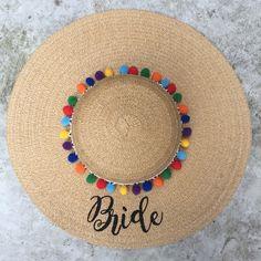 Floppy Hat Embroidered Beach Hat - Custom Bride Hat - Summer Straw Hat - Bride - Wedding - Bachelorette Gift - Floppy Beach Hat