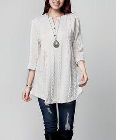 Look at this #zulilyfind! Winter White Cable Knit Notch Neck Tunic - Plus by Reborn Collection #zulilyfinds