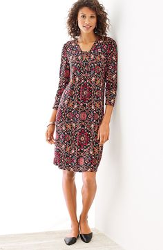 tapestry-print knit dress | J.Jill