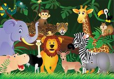 Jungle green photo mural wallpapers for children's room by homewallmurals.co.uk. Height 254cm Width 366cm. Check our range of wall murals for kids.