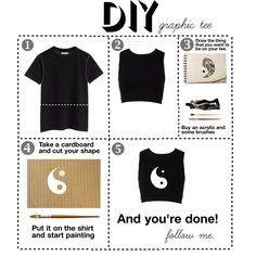 """""""DIY Graphic tee - yin yang."""" by flaviacriscione on Polyvore. Would do this with an old T-shirt with my own design. Like the idea."""