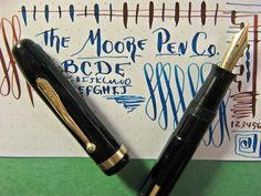 vtg MOORE Flex Large Black Fountain Pen vtg 14k Gold Nib GT Flat Sided New Sac  #Moore