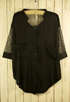 #Chicwish Best Lace Forward Shirt in Black
