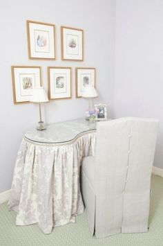 Toile Covered Vanity With Swing Out Arms For Storage