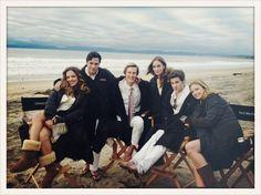 Margarita Levieva (Amanda), Nick Wechsler (Jack), Gabriel Mann (Nolan), Christa B. Allen (Charlotte), Connor Paolo (Declan) and Emily VanCamp (Emily) on the set of Revenge.