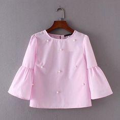 2017 Summer Women New Loose casual Shirt Blouse Elegant pearls O-neck 3/4 flare sleeve tops blusas Awedrui #AOWOFS #blouses-shirts #women_clothing #stylish_blouses-shirts #style #fashion