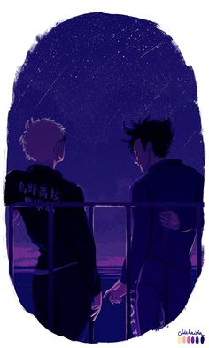 mas0pokonlife said to i-like-to-look-at-your-back: Hi Adelaida! Are you still doing the palette challenge? Hehe. If so, can you please do a Kuroo and Tsukki on palette 1? The word (or words) is meteor shower (;∀;) It seems pretty cool since Tsukki is like the light, Kuroo is the dark haha! Thanks~ I wanted to add text bubbles for both of them, but I decided that it would take away some of the sweetness. So you have to deal with not knowing what they are saying/thinking (¬‿¬)
