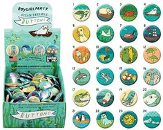 OCEAN ANIMAL buttons, boygirlparty, pinback #accessories #pin by boygirlparty on #Etsy http://etsy.me/2ikN0Yg