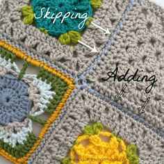 Joining Crochet Squares Part 4:  Joining Crochet Squares with Different Stitch Counts crochet tutorials  Photo