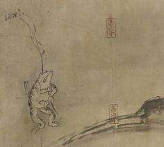 Japanese Art | A Frog standing upright, a branch over his shoulder, a fan in his girdle | F1907.535 Muromachi