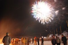 Sunrise Festival;  Inuvik, Canada;  January 5, 2013;  On the night preceding the year's first sunrise.  A night of fireworks, bonfires, and refreshments while awaiting the first sunrise after 6 weeks of night.