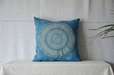 Blue pillow handwoven antique fabric lace by EthicalLifeStore
