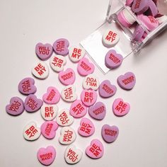 Cutest Will You Be My Bridesmaid Gift Idea! They will also print emojis on them! Custom Candy Hearts from www.MyCustomCandy.com