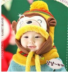 1ce598a0932 2016 Animal Hat Scarf Set Kids Monkey Cap Velvet Bonnet Bomber Hat Cute Winter  Hat Knitted Caps Girls Warm Winter Hats for Boys