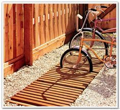 in-ground wooden bike rack (Outdoor Projects You Can Build, Better Homes and Gardens, Modern Outdoor Furniture, Urban Furniture, Outdoor Decor, Garden Furniture, Outdoor Projects, Garden Projects, Garden Ideas, Bike Shed, Landscape Architecture Design