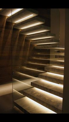 Stairway lighting Ideas with spectacular and moderniInteriors, Nautical stairway, Sky Loft Stair Lights, Outdoors Stair Lights, Contemporary Stair Lighting. Staircase Lighting Ideas, Stairway Lighting, Floating Staircase, Concrete Staircase, Concrete Steps, Iron Staircase, Railing Ideas, Home Stairs Design, Interior Stairs