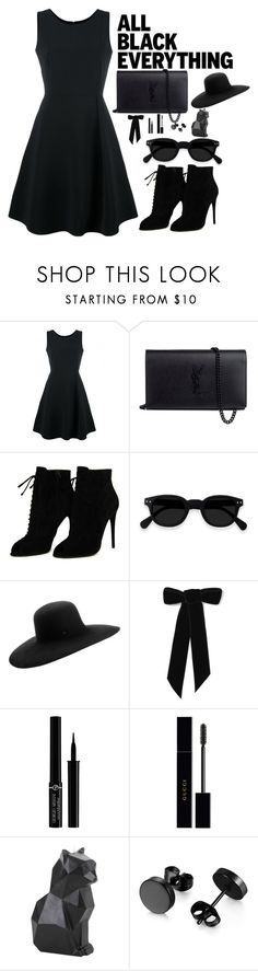 """Monochrome: All Black Everything"" by thesecretfightersoffashion ❤ liked on Polyvore featuring Emporio Armani, Yves Saint Laurent, Tom Ford, Maison Michel, Jennifer Behr, Giorgio Armani, Gucci and Hot Topic"