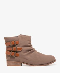 My latest great cheap find - Ruched Faux Suede Booties from FOREVER 21.