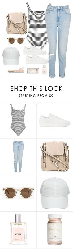 """Untitled #3582"" by theaverageauburn ❤ liked on Polyvore featuring Topshop Unique, adidas Originals, Topshop, Chloé, J.Crew, philosophy, Flynn&King and Beautycounter"